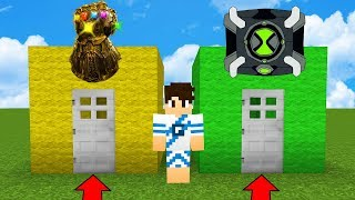 PORTA MANOPLA DO INFINITO DO THANOS vs PORTA OMNITRIX BEN 10 NO MINECRAFT !!
