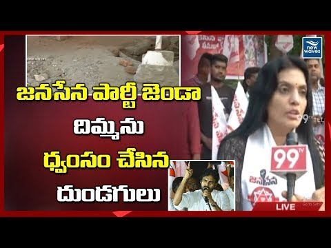 Janasena Party Flag Destroyed by Unknown Persons at West Constituency in Visakhapatnam | New Waves
