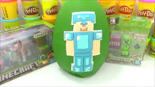Huge Diamond Steve Minecraft Playdoh Surprise Egg Toy Opening