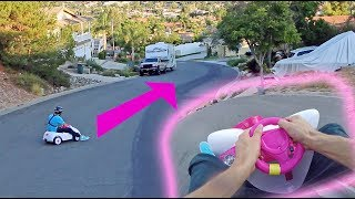 TOP SPEED HILL BOMB IN TOY CAR!