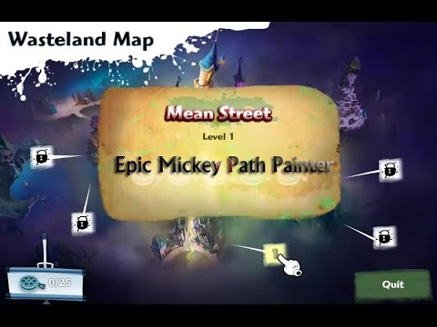 Epic Mickey Path Painter - Level 1 Mean Street Gameplay - Disney Epic Mickey Games