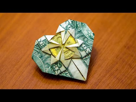 How to fold an origami money heart - tutorial - great gift idea
