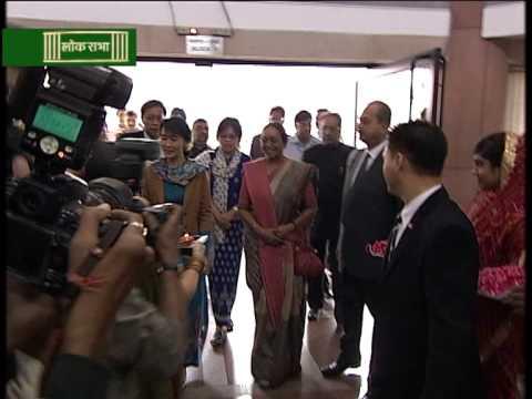 Aung San Suu Kyi meets Meira Kumar.