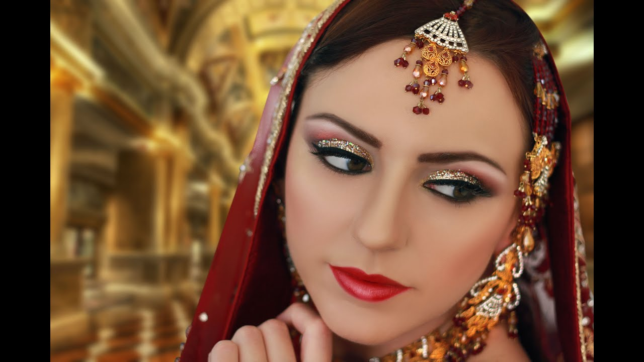 Traditional Bridal Makeup Looks : Gold and Silver Glitter Makeup - Indian Asian Pakistani ...