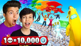 1 Elimination = 10,000 VBucks w/ My 13 Year Old Little Brother - Challenge!