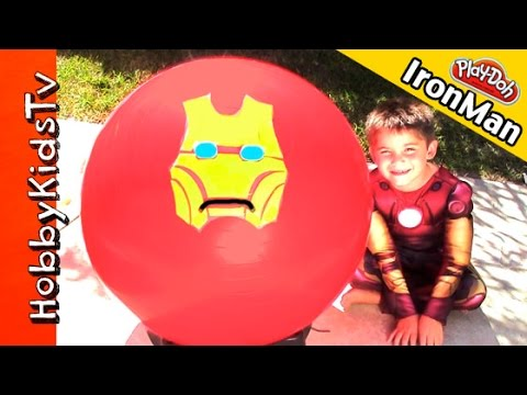 Mega GIANT Ironman Play-Doh Head Surprise! Kinder Chocolate Superhero Marvel Egg HobbyKidsTV