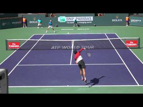 Milos Raonic slice serve to Novak Djokovic slomo BNP Indian Wells