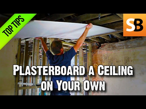 Plasterboarding a Ceiling on Your Own less grunt
