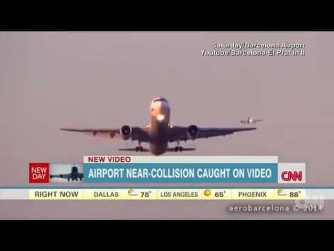 Two Air Planes Almost Collide On Runway At Barcelona Airport Nearly Crash Collision