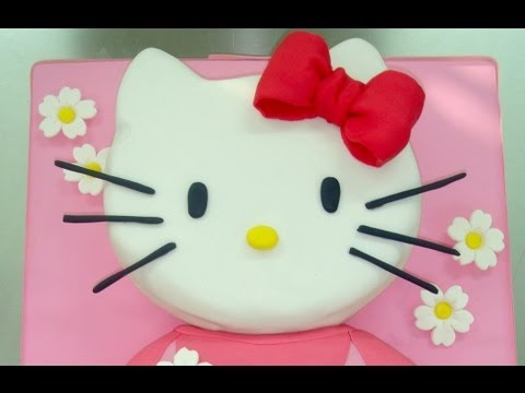 Como decorar con fondant una tarta de Hello Kitty. How to make this hello kitty fondant cake. torta
