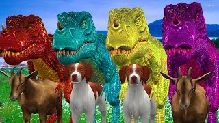 Finger Family Song Colourful Dinosaur Attacking Wild Animals|| 3D Animation Nursery Rhymes For Kids