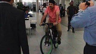Mammotty riding bicycle to BMW showroom, Dubai | Hot Malayalam News