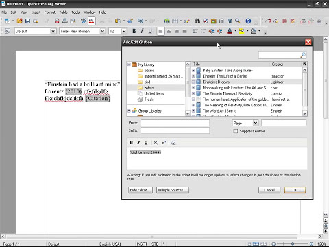 Zotero (09): Inserting references in OpenOffice