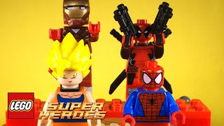 Goku Toys (Lego Goku de Dragon Ball Z) con Spider-Man, Iron Man, Deadpool