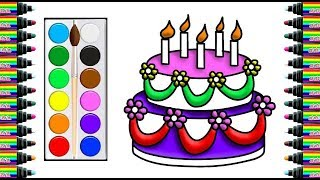 How to draw two-story birthday cake for children   Drawing and coloring for Kids   bé yêu