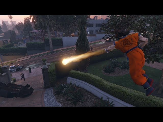 GTA 5 - Dragon Ball script mod - Ki Blast attack and Teleport