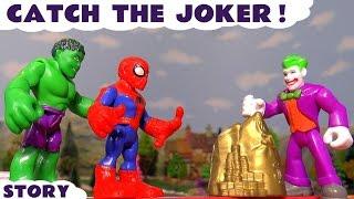 Spiderman and Hulk stop motion catching Joker escaping on Thomas & Friends Diesel 10 TT4U