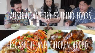 Australians Try Filipino Foods: ESCABECHE & CHICKEN ADOBO | Tagalog Tuesdays
