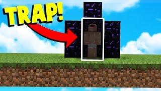 WORLDS BEST OBSIDIAN TRAP! (Minecraft BED WARS Trolling)