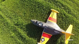 RC FLIGHT F9F PANTHER EDF DUCTED FAN JET FIRST FLIGHT IN HEAVY WIND