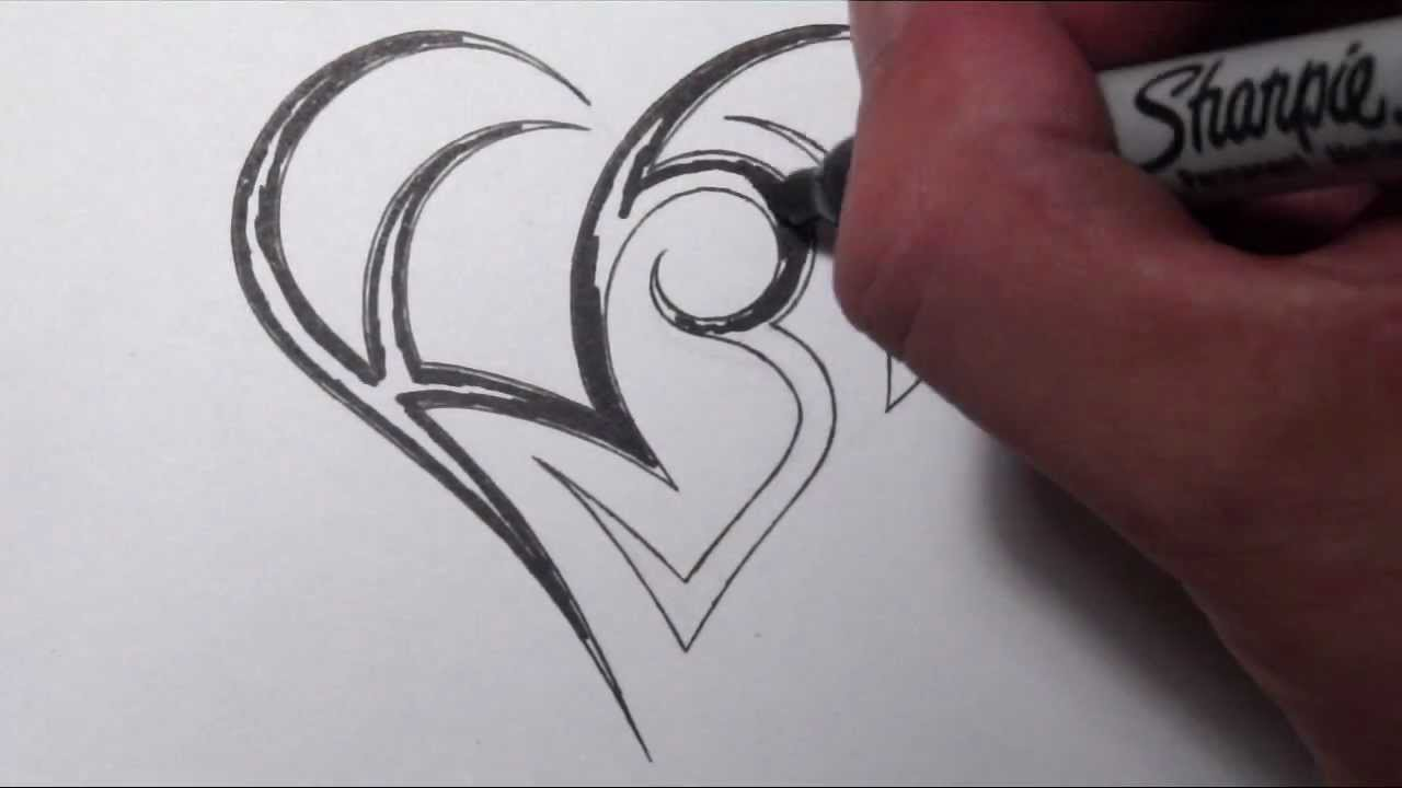 creating a heart with initials tattoo design youtube. Black Bedroom Furniture Sets. Home Design Ideas