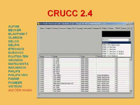 CRUCC 2.4 -- Car Radio Universal Code Calculator © 2.4