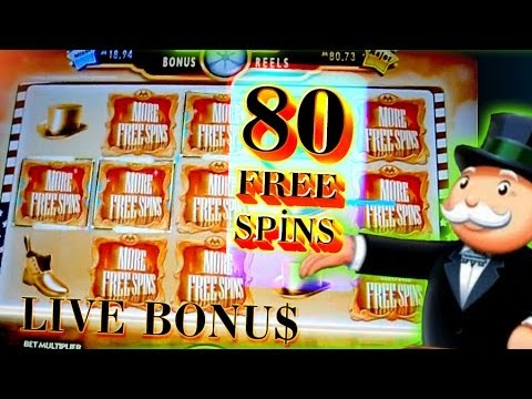 80 Free Spins Super Monopoly BIG WIN + Live Bonuses 5c Wms Video Slots