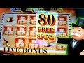 80 Free Spins Super Monopoly BIG WIN + Live Bonuses - 5c Wms Video Slots