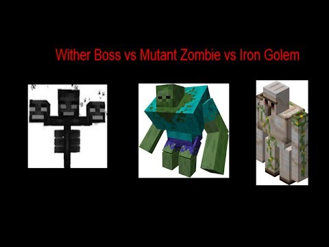 Minecraft / Iron Golem vs Wither vs Mutant Zombie / Mob Battles