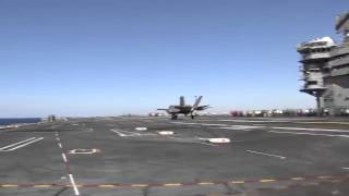 U.S. Navy Lands F35 Fighter Jet on Aircraft Carrier