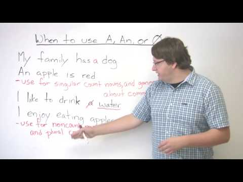 Grammar – Articles – When to use A, AN, or no article