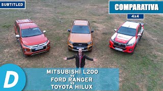 4x4 Test ¡to the limit!: Toyota Hilux vs Ford Ranger vs Mitsubishi L200 (Triton) | Offroad test