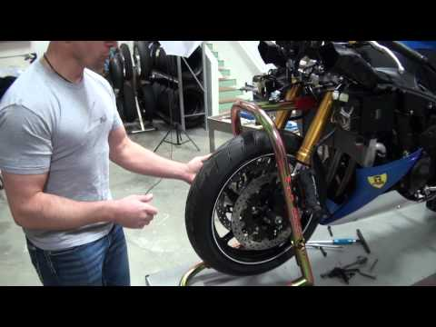 How to install the front forks on a motorcycle from SportbikeTrackGear.com