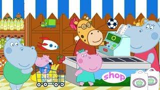 Hippo Supermarket Shopping Games for Kids - Hippo Kids Games Full Episode 12 - Baby Games Video