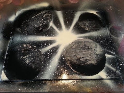 Black and White spray paint 3 planets in one Beginner