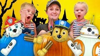 PAW PATROL DIY PUMPKIN FUN! 🎃 Kids Halloween Mix Up !