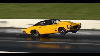 OUTLAW 10.5 WHEELSTANDING 6 SEC PASSES AT ROUND 7 SYDNEY DRAGWAY 14.9.2014