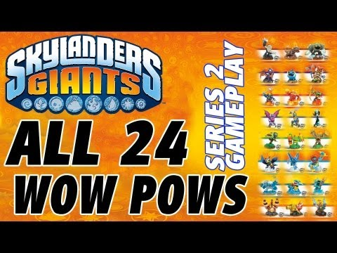 All 24 Wow Pows for Series 2 in Skylanders Giants (Gameplay Review)) 1080p HD