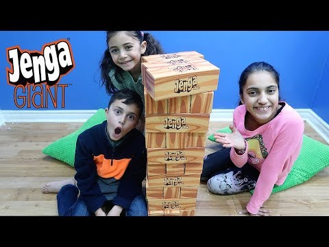 Kids Playing GIANT JENGA CHALLENGE! Family Fun Game for Kids HZHtube Kids Fun