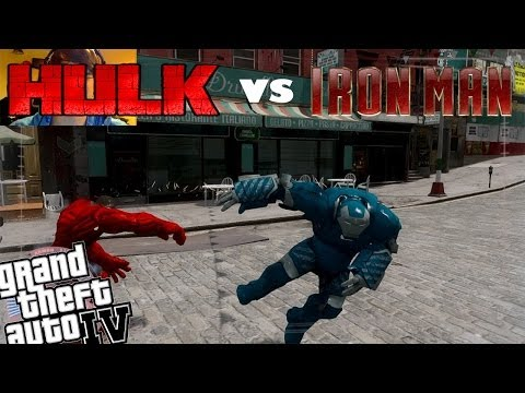 GTA 4 Webcam Iron Man Mod + Red Hulk Mod - Igor Armor Suit vs Red Hulk