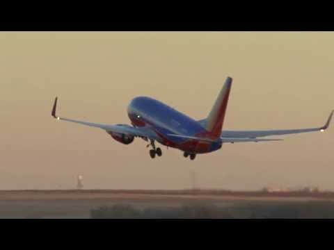 Airplane Footage Takeoff Sunset Mountains Denver International Airport Southwest Airlines copy