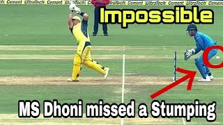 MS Dhoni Misses a rare Stumping || India vs Australia 4th ODI