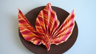 Servietten falten: Ahornblatt napkin folding maple leaf