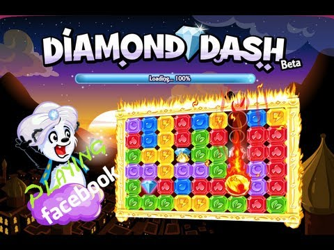 Playing Facebook - Diamond Dash