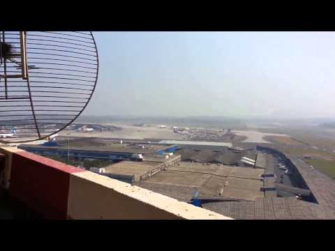 BOEING JUMBO 747  HEAVY TAKE OFF FROM MUMBAI AIRPORT RUNWAY 27 VIEW FROM OLD ATC TOWER
