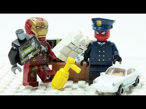 LEGO SPIDER MAN & IRON MAN POLICE Changing Hero Costumes