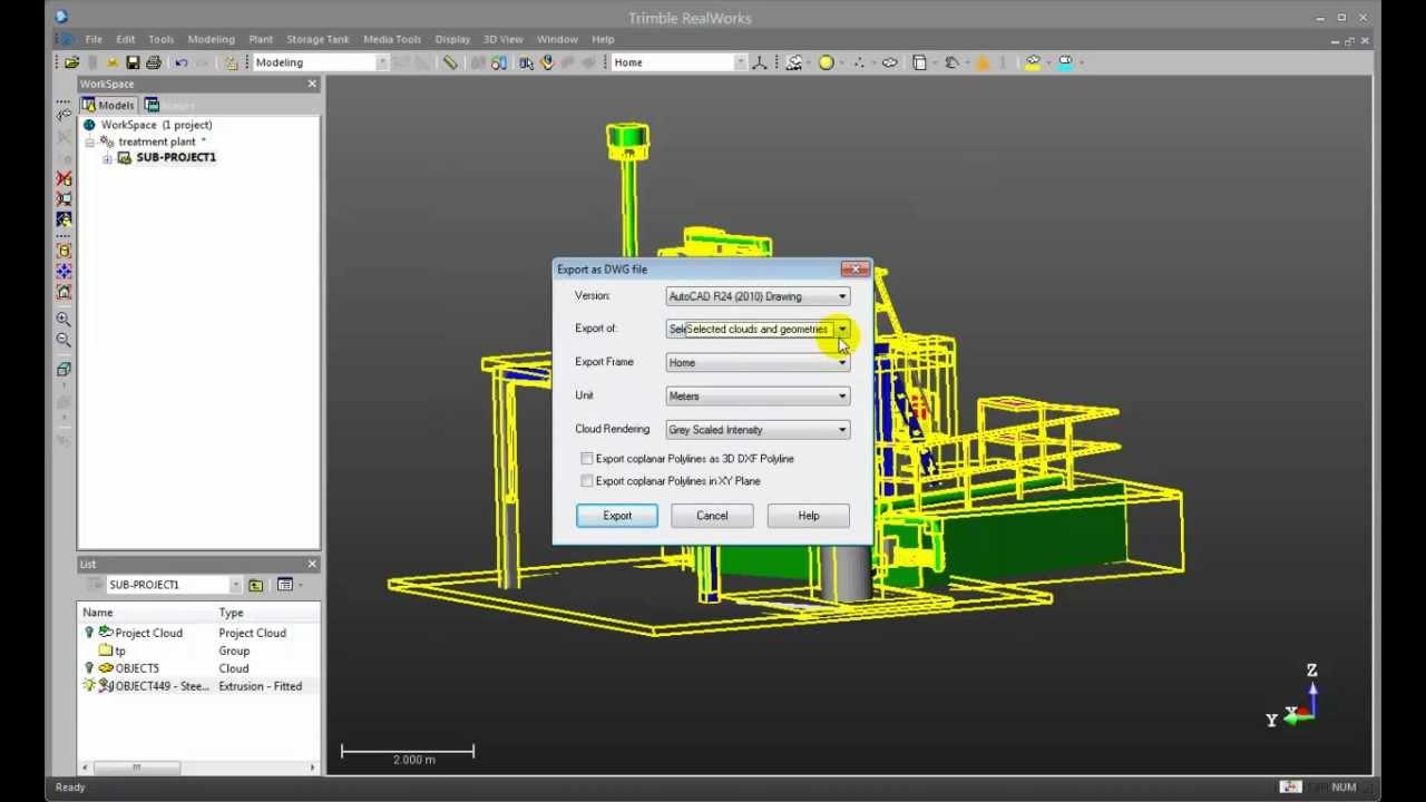 Trimble RealWorks 7.2 - Model to BIM (Tekla) - YouTube