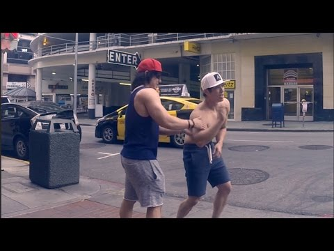 Yang and Ogus beg for protein in the streets of SF w/ a Scooby cameo