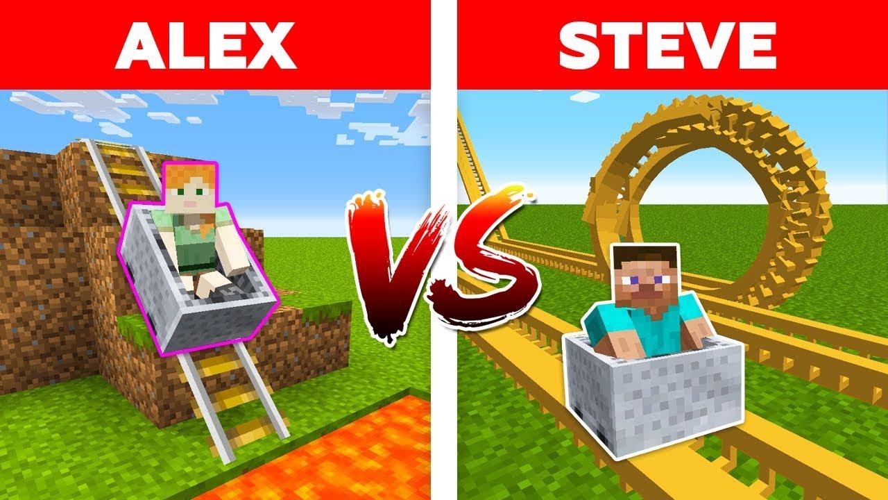 MINECRAFT - ALEX vs STEVE! THEME PARK ROLLERCOASTER BATTLE / Minecraft Animation #10