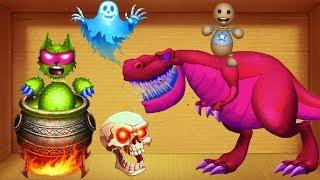 Red T-Rex Dinosaurs VS Buddy Wolfman in WITCH CAULDRON | Kick The Buddy Play Ipad 4g
